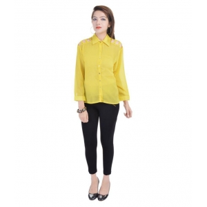 Blue Morpho Poly Georgette yellow Shirt