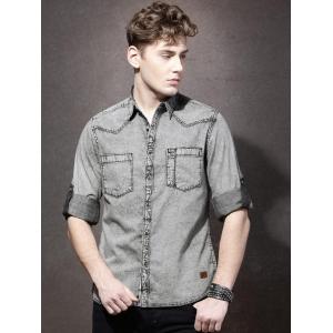 Roadster Men Charcoal Grey Faded Casual Shirt