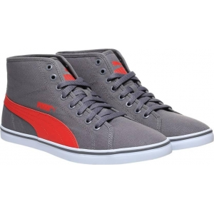 Puma Gray Synthetic Lace Up Mid Ankle Sneakers