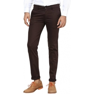 Inspire Coffee Solid Cotton Slim Fit Casual Trouser