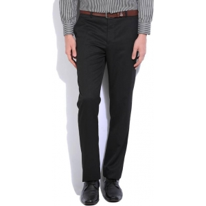 John Players Black Solid Poly Cotton Formal Trouser
