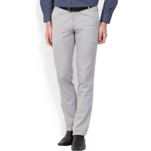 John Players Men's Grey Solid Polyester Slim Fit Trouser