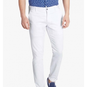 AD & AV White Solid Cotton Chinos Trouser