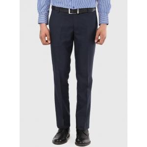 AD & AV Navy Blue Solid Cotton Formal Trouser