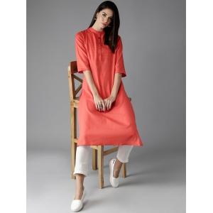 Moda Rapido Orange Solid Straight Kurta