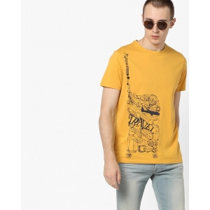 AJIO Yellow Jersey Cotton Graphic Print Crew-Neck T-shirt