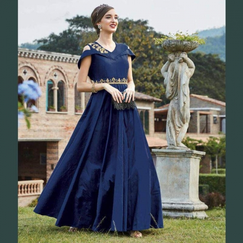 Buy Shoppingover Navy Blue Designer Party Wear Gown online | Looksgud.in