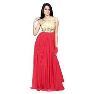 Sancom Women's Red Semi Stitched Georgette Gown