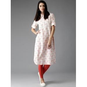 Moda Rapido Women Off-White & Orange Shirt Style Pathani Kurta
