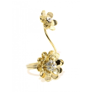 Tipsyfly Gold-Toned Embellished Sun Blossom Ring