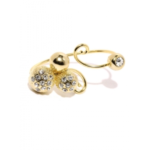Tipsyfly Gold-Toned Embellished Dual-Finger Ring