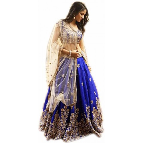 Izonme Blue Bangalore Silk Embroidered Lehenga Choli