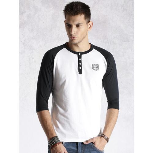 a7aeaf8c1ddb Buy Roadster White Self Pattern Henley T-Shirt online | Looksgud.in