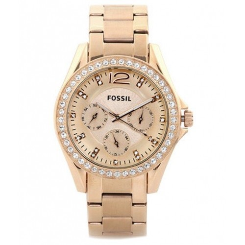 Fossil ES2811 Riley Rose Gold Dial Stainless Steel Strap Watch