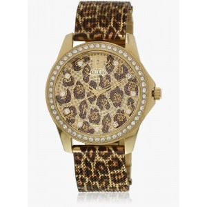 Guess W0333l1 Brown & Golden Analog Watch