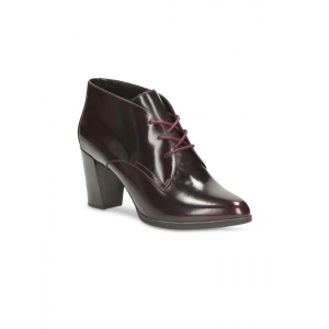 Clarks Women Burgundy Leather Heeled Boots
