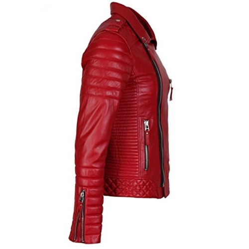 HugMe.fashion Red Solid Lambskin Leather Jacket