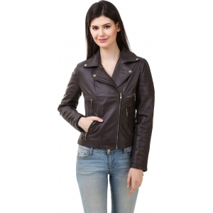 Rocker Fashions Brown Polyurethane Long Sleeve Solid Jacket