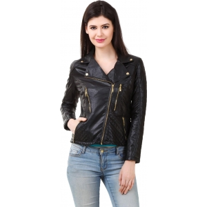 Rocker Fashions Black Polyurethane Long Sleeve Solid Jacket