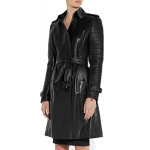 HugMe.fashion Black Solid Genuine Leather Long Coat