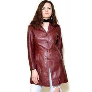 HugMe.fashion Maroon Solid Genuine Leather Long Coat