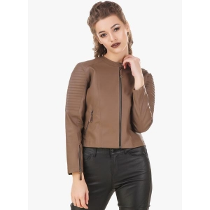 Texco Brown Solid Genuine Leather Jacket