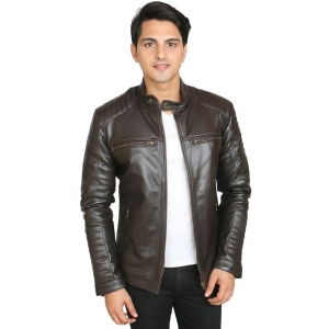 C Comfort Brown 100% Genuine Leather Solid Jacket