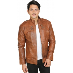 C Comfort Brown 100% Genuine Leather Full Sleeve Solid Men's Jacket