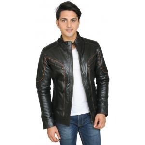 C Comfort Black 100% Genuine Leather Full Sleeve Solid Jacket