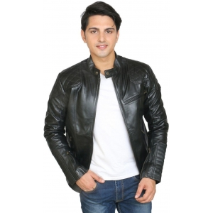 C Comfort Black 100% Genuine Leather Full Sleeve Solid Jacket