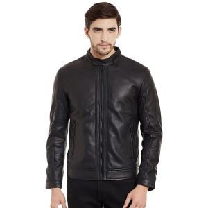 JUSTANNED Black Solid 100% Genuine Leather Jacket