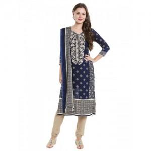 Ishin Blue Synthetic Dress Material