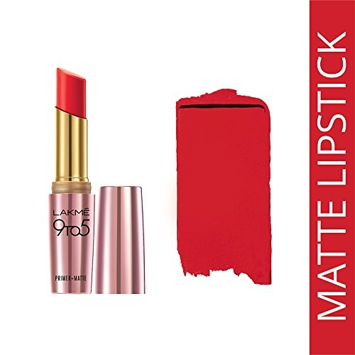 Lakme 9 to 5 Matte Lip Color, Red Coat R1, 3.6g