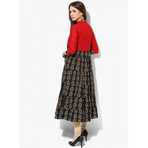 AKS Red & Black Cotton Bandhani Printed Anarkali Kurti