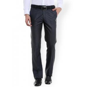 Solemio Grey Original Regular Fit Solid Formal Trousers
