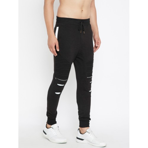2568e55d Buy Fugazee Black Cotton Ripped Track Pants online | Looksgud.in