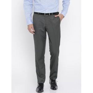 John Players Grey Solid Slim Fit Flat-Front Formal Trousers