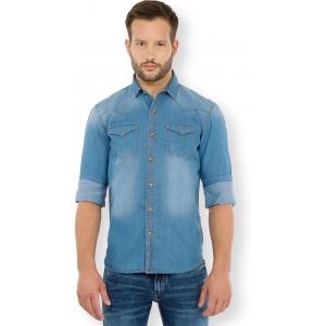 Highlander Blue Washed Solid Casual Denim Shirt