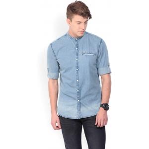 John Players Light Blue Cotton Solid Denim Shirt