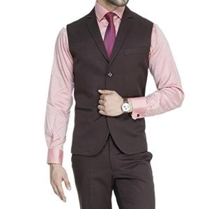 ManQ Men's Single Breast Three Button Slim Fit Waist coat