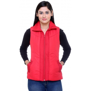 Trufit Red Sleeveless Solid Women's Jacket
