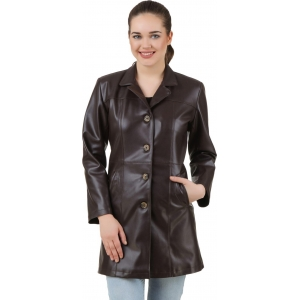 Casabella Black Leather Full Sleeve Solid Women's Jacket