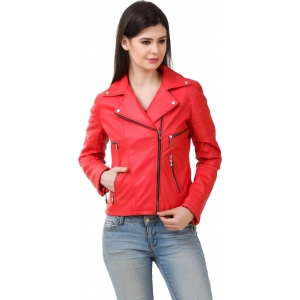 StyleHub Red Leather Full Sleeve Solid Women's Jacket