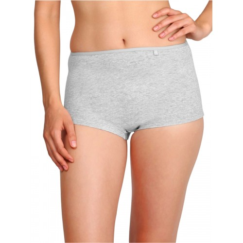 Jockey Women's Grey Solid Combed Cotton Boy Short Panty