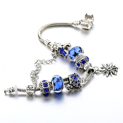 Hot and Bold Sterling Silver Plated Pandora Charms DIY Bracelet for Women/Girls.