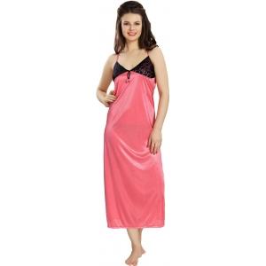 AV2 Women's Pink Solid Satin Nighty