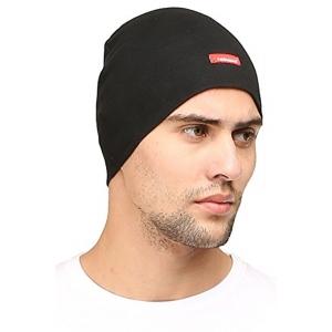 FabSeasons Black Solid Cotton Skull Cap