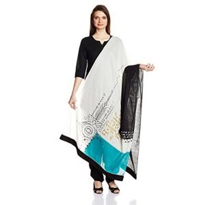 W for Woman White Printed Cotton Dupatta