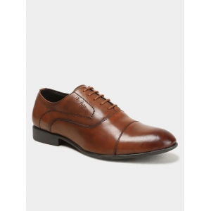 Lee Cooper Men Brown Leather Derby Shoes