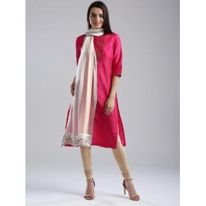 W Off-White & Pink Colourblocked Dupatta